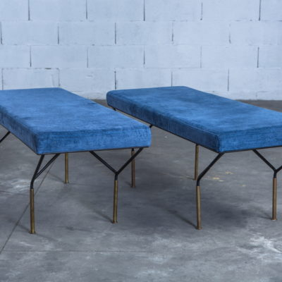 Pair of Italian mid century benches made by metal and brass - Carlo de Carli (attr.)