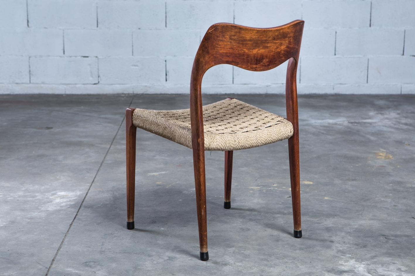 Model 71 teak chairs - Niels O. Møller for J.L. Møller - 3/4 back view