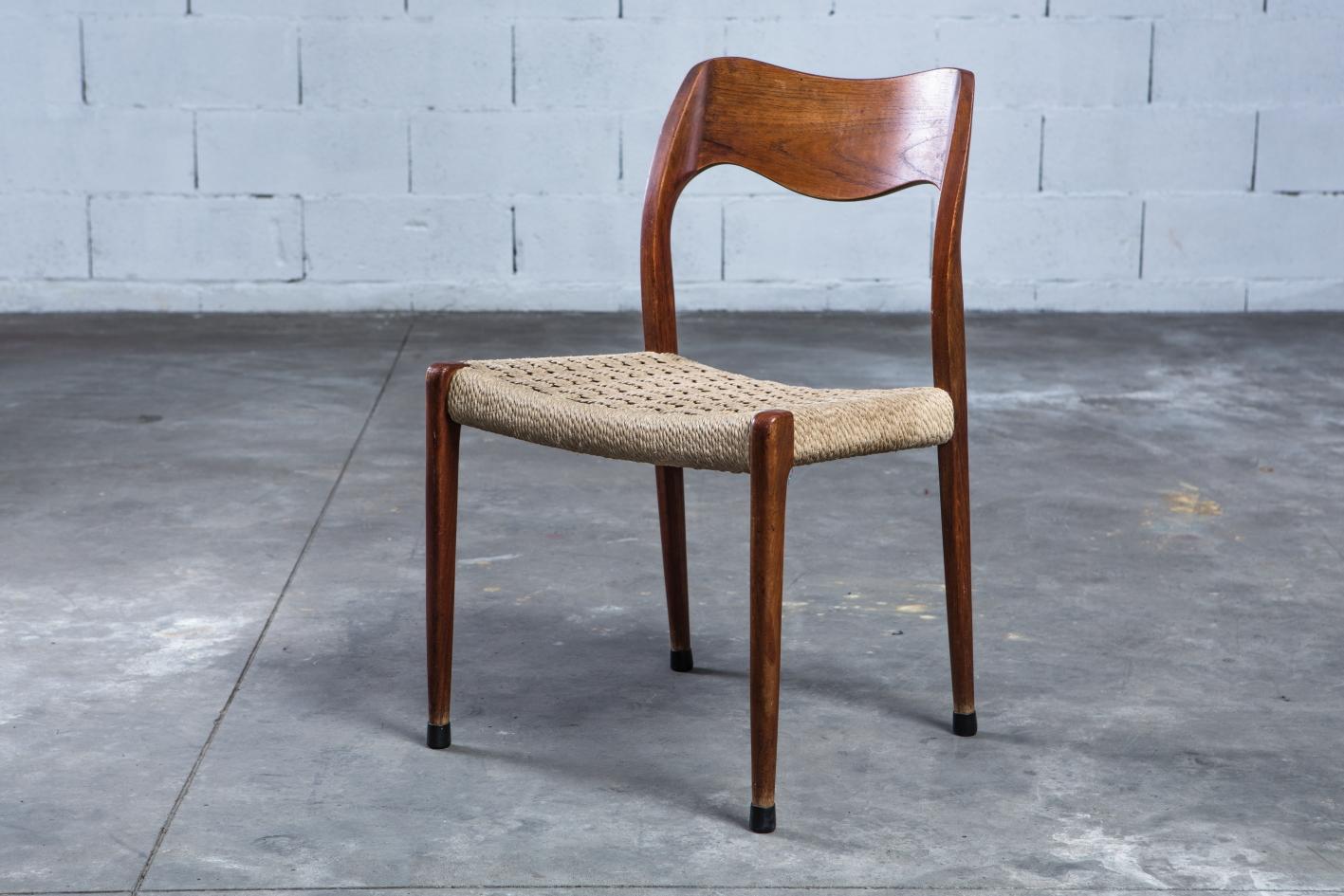Model 71 teak chairs - Niels O. Møller for J.L. Møller - 3/4 front view