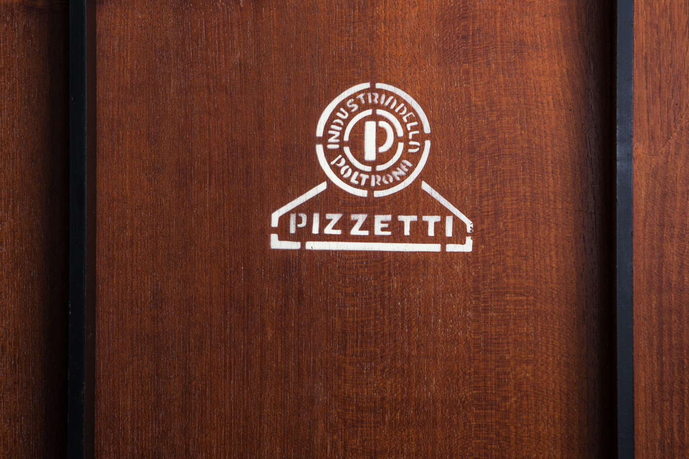 Rosewood metal mid century Italian side table by Pizzetti - Stamp logo mark