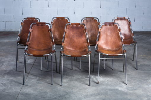 ''Les Arcs'' chairs - Charlotte Perriand - Leather and metal frame