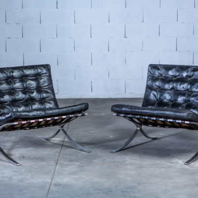 early Barcelona chairs made by Stiegler on behalf of Knoll International. Their screwed frame dates between 1955 and 1958