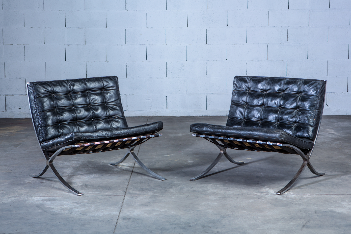 Early Barcelona Chairs Made By Stiegler On Behalf Of Knoll