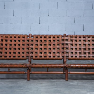 Wood and leather three Seat Sofa - Ilmari Tapiovaara for Esposizione La Permanente Mobili Cantu - 1950s