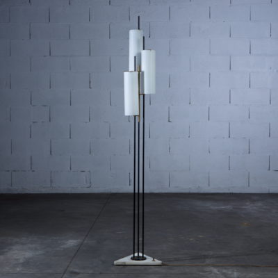 Three arms Floor Lamp made by marble, brass and glass - Stilnovo Italy 1950s