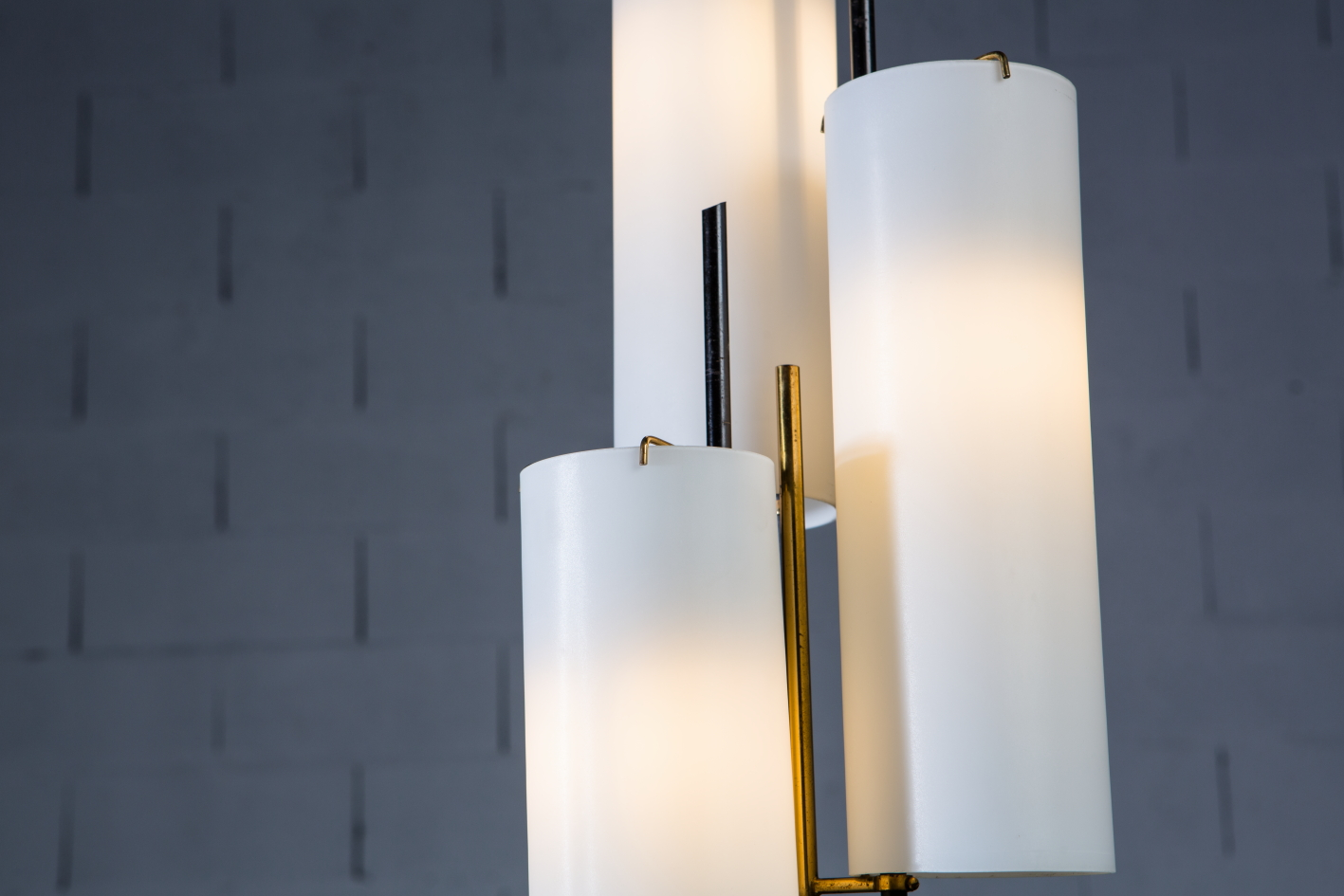 Three arms Floor Lamp made by marble, brass and glass - Stilnovo Italy 1950s - Details
