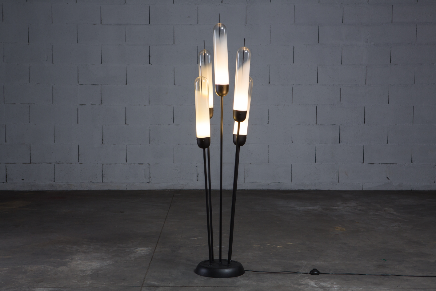 A glass and metal Floor lamp - Mazzega 1970s - Lights on