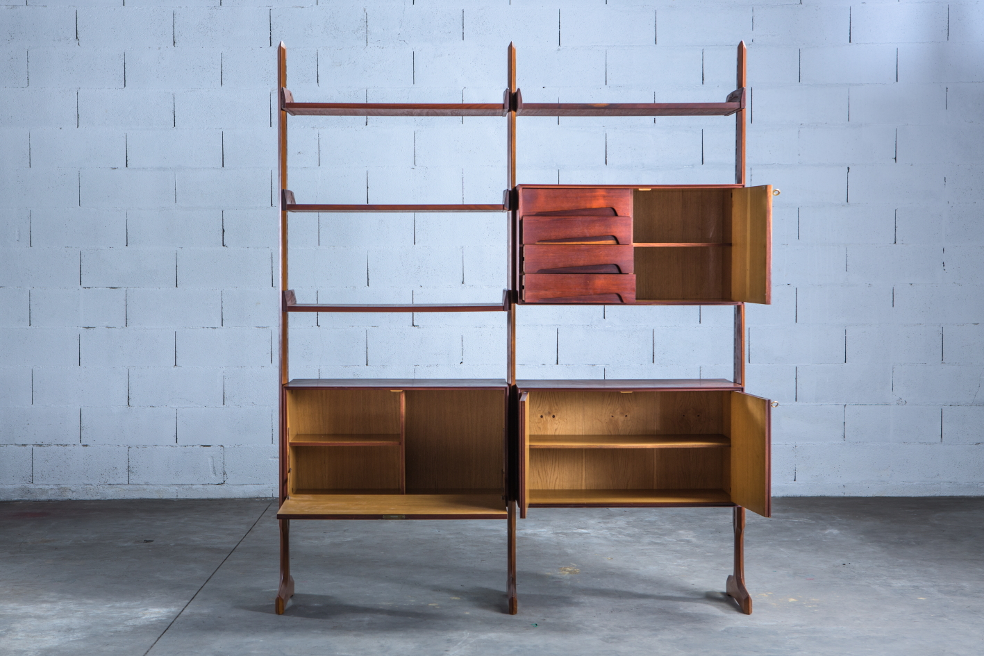 Free standing wall unit, Palutari for Dassi - Front view with open drawers