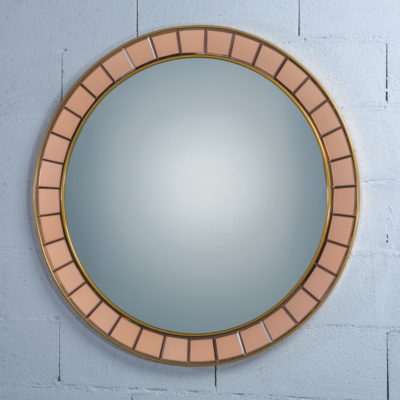 Amazing mid century glass round mirror - Cristal Art 1960s