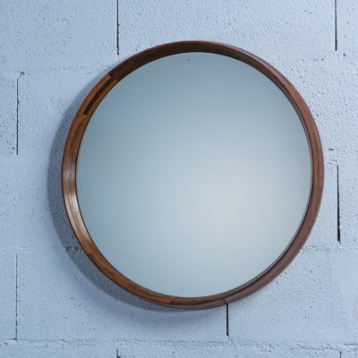 Unique Mid Century Italian Wood Round Mirror produced by Poggi Pavia 1950s Italy