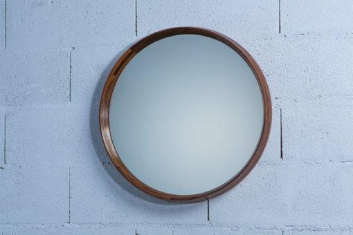 Unique Mid Century Italian Wood Round Mirror produced by Poggi Pavia 1950s Italy