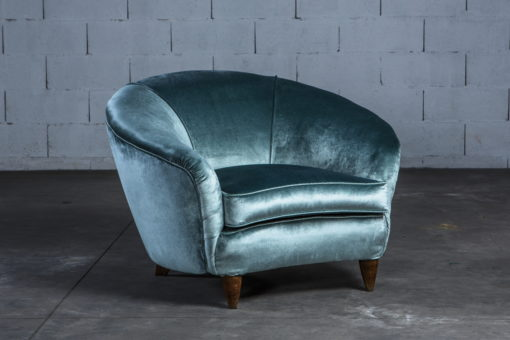 Generous and beautiful Two Lounge Chairs in light blue silk velvet - Italy 1940s