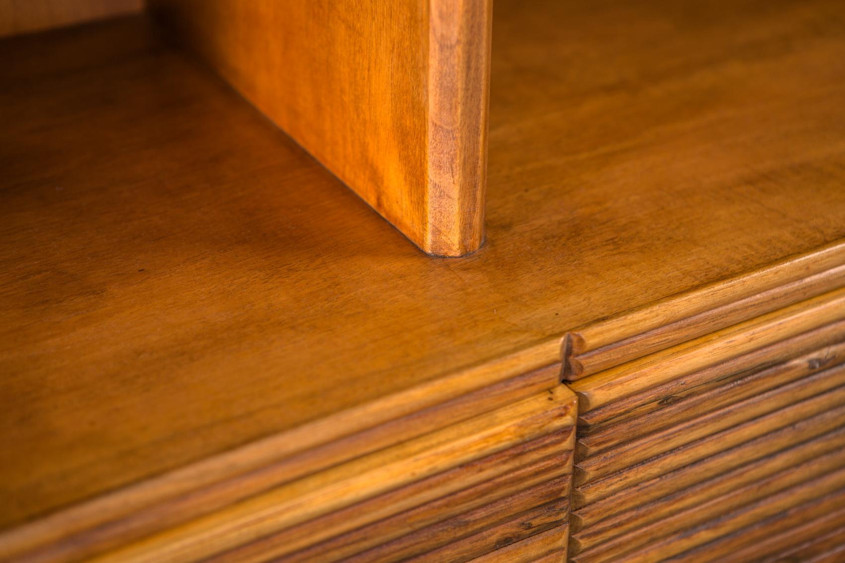 Walnut grissinato Highboard Commode with library - Paolo Buffa for Galdino Maspero 1930s 1940s - Detail 2