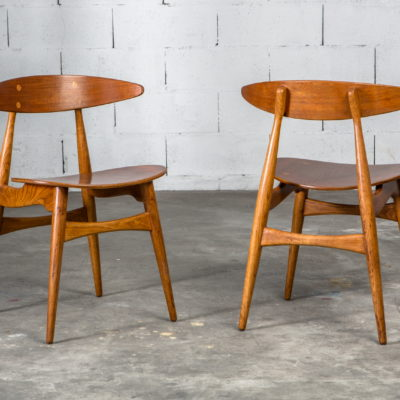 Molded teak backrests and oak frames CH 33 chairs - Hans J. Wegner for Carl Hansen & Son