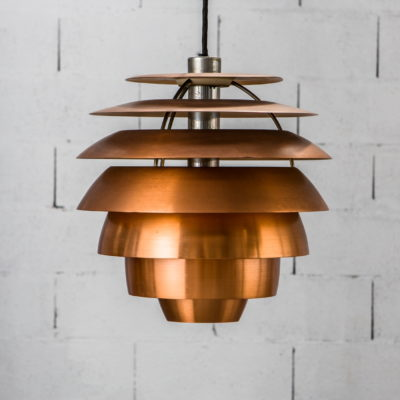 A hanging lamp, 1231 model by Stilnovo, 1960's. Nickel-plated brass and brushed copper.