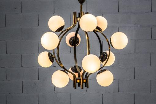 Stilnovo 12 lights chandelier 1950s made by brass, aluminium and opaline glass