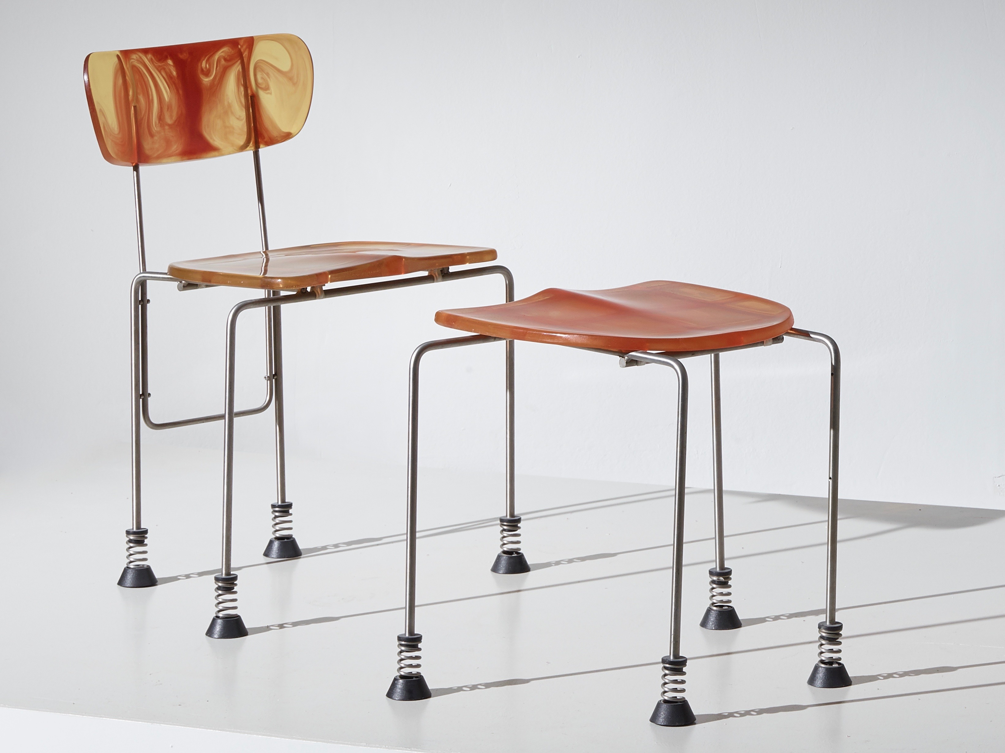 Broadway chairs and a stool by Gaetano Pesce for Bernini